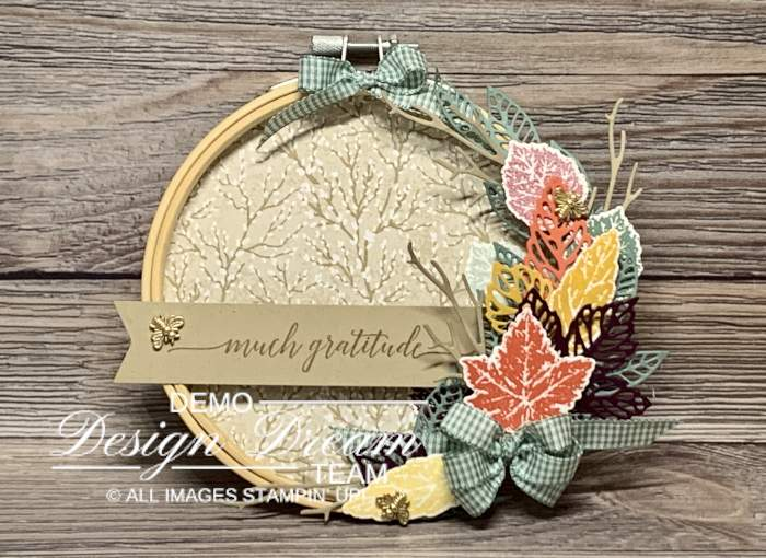 fall harvest meadow 3D embroidery hoop stampin up