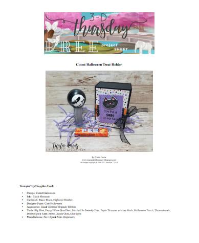 3D thursday free project sheet halloween treat holder